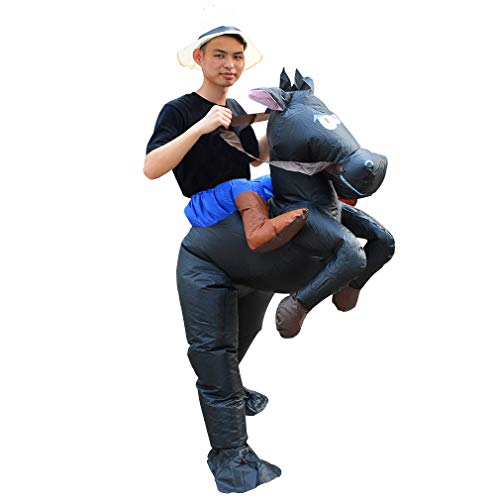 HUAYUARTS Inflatable Costume Ride on Horse Adult Black Cowboy Costume Funny Blow up Halloween Cosplay, Free Size]()