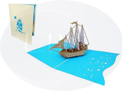 LIN Pop Up 3D Greeting Card for Fans of Historic Sailing Ships, Sailing Ship (Galleon), large card (6 x 7.8 inches), (#116) ()