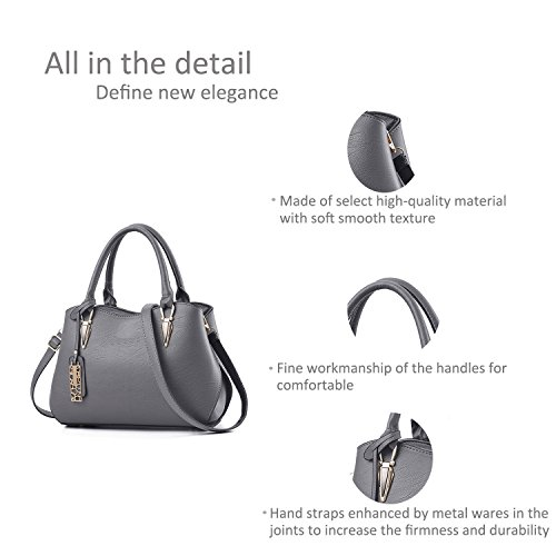 Women Casual Handbag Zonlin Shoulder for Bags Bag Messenger Grey Portable Ladies fFqxXz7
