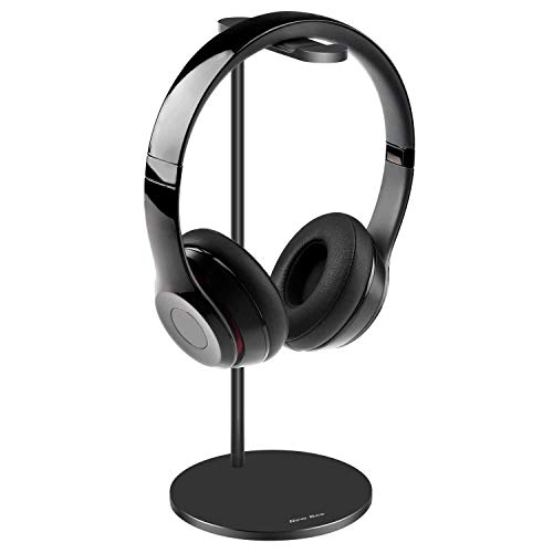 - Full Aluminum Headphone Stand Headset Holder- Gaming Headset Holder with Thick Leather Pad Non-Slip Silicone Earphone Stand for All Headphone Sizes, Black