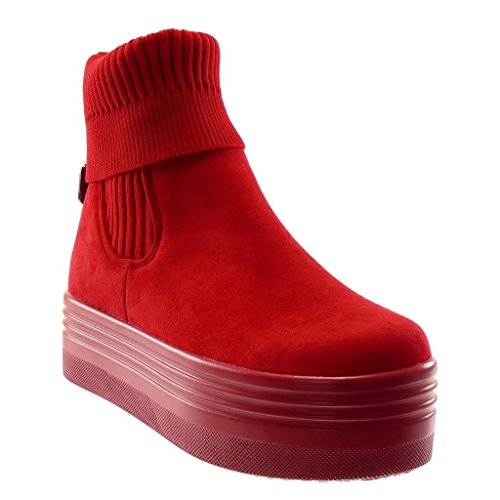 Angkorly - Women's Fashion Shoes Ankle Boots - Booty - Slip-on - Platform - Knitted - Buckle - Crochet Wedge Platform 5 cm Red