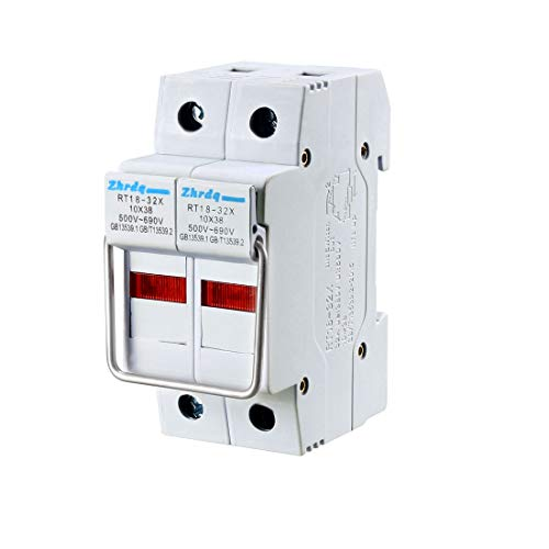 uxcell DIN Rail Mount Fuse Holder 2 Pole RT18-32 10mmx38mm with Indicator Light Gray ()