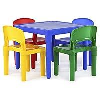 Juego de mesa de plástico para niños Tot Tutors y 4 sillas, colores primarios (colección primaria)