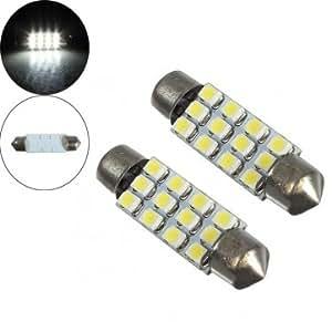 2 x Dome 12 3528-SMD LED Bulb Light Interior Festoon Lamp 42mm White