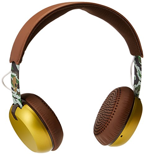 Skullcandy Grind On-Ear Headphones with Built-In Mic and Remote, Scout Camo/Gold