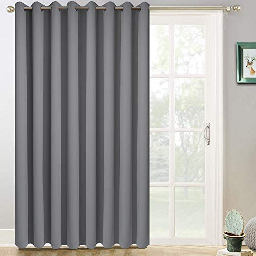 Yakamok Room Darkening Wide Blackout Patio Door Curtain Panel, Sliding Door Insulated Curtains,Room Divider Curtain, Vertical Blinds for Dinding Room with Grommet Top(Grey, 100 by 84 Inches,1 Panel) (Sliding Doors With Blinds Between The Glass)