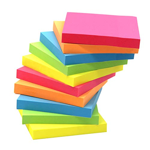 Sticky Note, Top Honor 3 inch x 3 inch, 10 Pads/Pack,100 Sheets/Pad, 5 Colours Self-Stick Notes, Easy Post