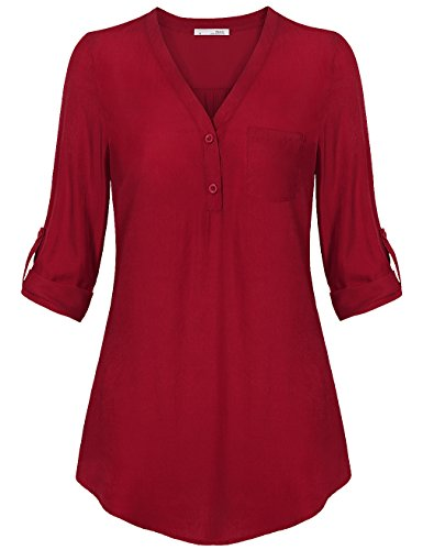 Messic Womens V-Neck Pocket Blouses 3/4 Blazer Cuffed Sleeve Plus Size Button Down Casual Woven Shirt,Red - Skirt Twill Button Front