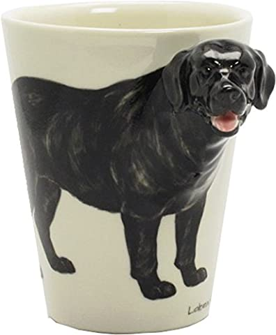 Black Lab Labrador Retriever Dog Hand Painted Embossed 3D Ceramic Coffee Mug - Labrador Coffee