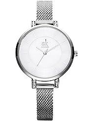 SK SHENGKE Charming Chain Bracelet Female Quartz Watches with Mesh Belt Strap for Women-Silver