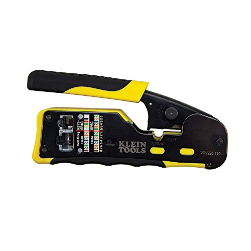 Klein Tools VDV226-110 Wire Crimper / Wire Cutter / Wire Stripper Pass-Thru Modular All-in-One Tool for Video, Telecom…