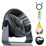 Houselog USB Desk Fan, Mini and Portable, USB Powered and Rechargeable Battery Operated, Quiet and Small Essential Oil Diffuser for Office and Home, Black
