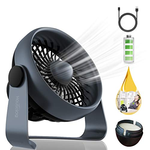 Houselog USB Desk Fan, Mini and Portable, USB Powered and Rechargeable Battery Operated, Quiet and Small Essential Oil Diffuser for Office and Home, Black by Houselog