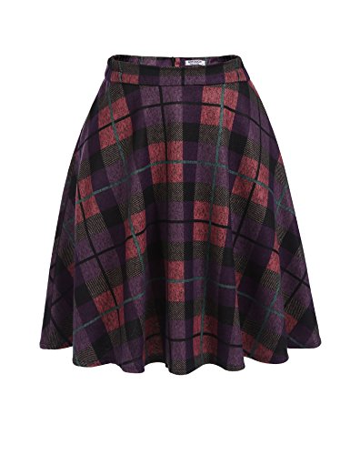 - HOTOUCH Women's Vintage Plaid Winter Skirts Elastic Waist Tartan Pleated Wool Blend Skirt purple XL
