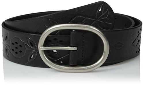 Fossil Women's Floral Perforated Belt, Black, X-Large