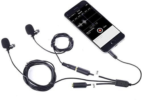 Movo Professional Lavalier Lapel Clip-on Interview Podcast Microphone with Secondary Mic and Headphone Monitoring Input for iPhone