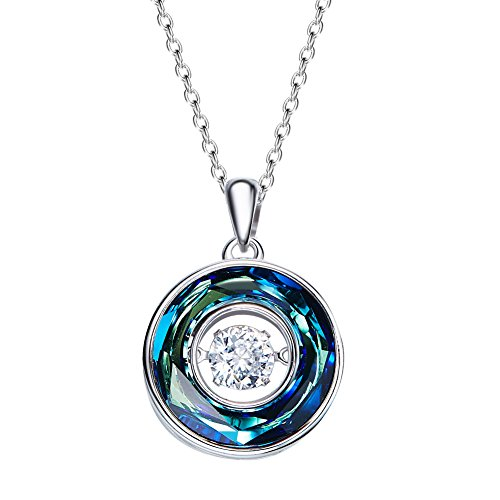 Lovelychica Beating Heart S925 Sterling Silver Diamond Necklace for Women Girls Australia Crystal Necklace for Wedding