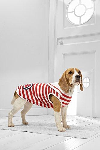 Striped Dog Tank (Medium Dog Sailor Tank Top for Beagle Sheltie Westie Cocker Spaniel Dachshund (Medium Plus Size, white, red))