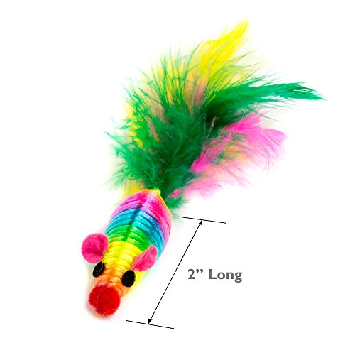 abobo Cat Toys - Rainbow Rattle rope balls/Mouse with Feather Tail for Pets/Cat/Kitten– 8 Pcs+1 Gift by abobo (Image #2)