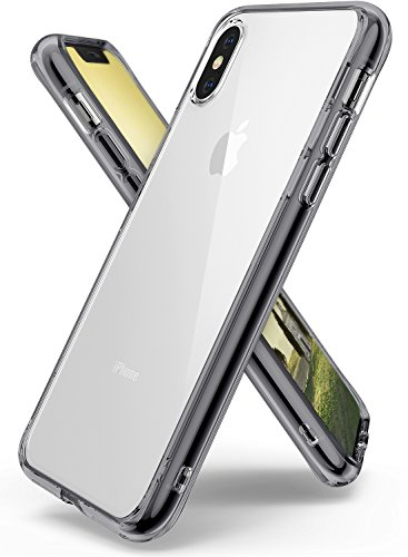 Ringke [Fusion] Case Compatible with iPhone X, Clear Transparent PC Back TPU Bumper [Drop Defense] Raised Bezels Scratch Protection Natural Form Qi Wireless Charging Compatible Cover - Smoke Black