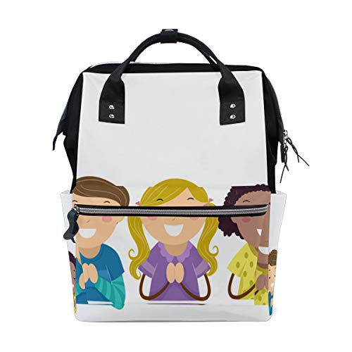 (Boy and Girll Cute Kid Large Capacity Diaper Bags Mummy Backpack Multi Functions Nappy Nursing Bag Tote Handbag for Children Baby Care Travel Daily Women)