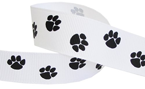 HipGirl Brand Printed Grosgrain Ribbon, 5 -Yard 7/8-Inch School Spirit Paw Prints, White/Black