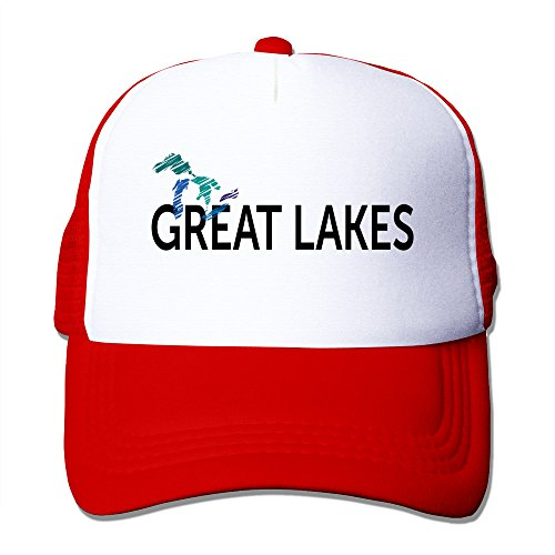 Mens Great Lakes Mesh Back Baseball Hat Trucker Caps Red ()