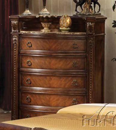 Antique Marble Finish (ACME 10316 Chest with Marble Top, Dark Cherry)