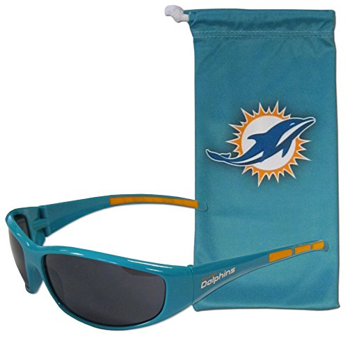 NFL Miami Dolphins Adult Sunglass and Bag Set, Blue]()