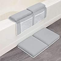 Magicfun Bath Kneeler with Elbow Rest Pad Set, 1.5 inch Thick Kneeling Pad and Elbow Support for Knee & Arm Support Large Bathtub Kneeling Mat with Toy Organizer for Happy Baby Bathing Time(Gray)