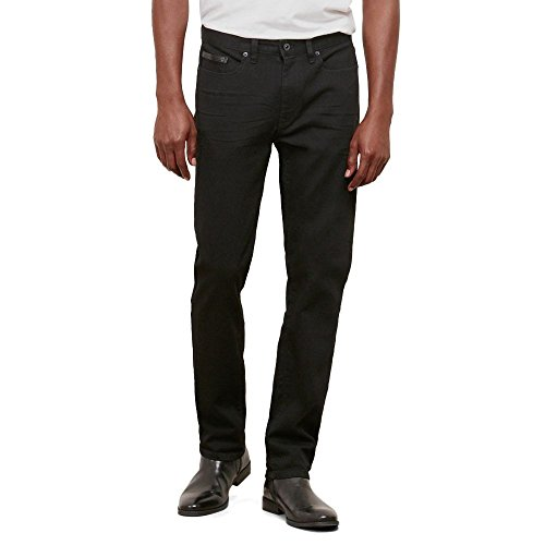 Reaction Kenneth Cole Dark Wash 5-Pocket Pleather Moto Denim - Men's - Black