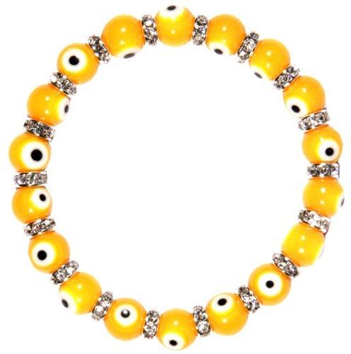Flex Bracelet with Evil Eyes - Yellow - (Murano Glass & Zirconium Crystals) Crystal Flex Bracelet