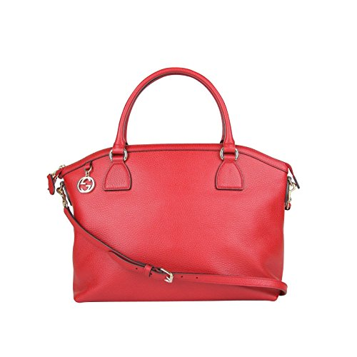 Gucci GG Charm Red Leather Large Convertible Dome Bag With Detachabel Strap 449660 (Gucci Ladies Bags)
