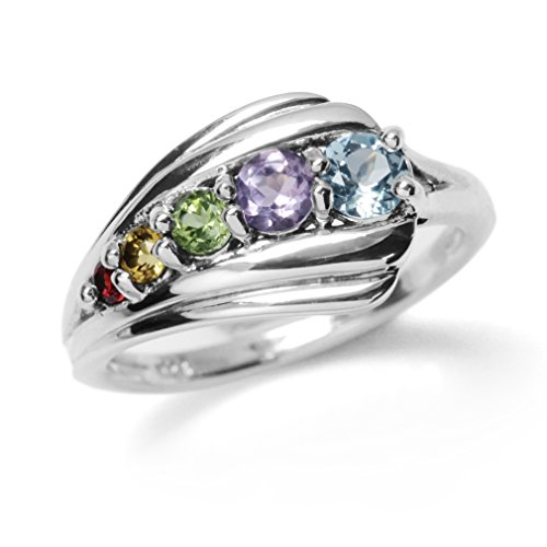 Natural Garnet, Citrine, Peridot, Amethyst & Blue Topaz 925 Sterling Silver Journey Ring Size 6