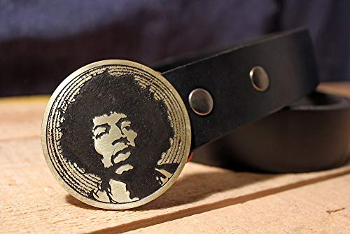 Jimi Hendrix Etched Metal Belt Buckle (Jimi Hendrix Leather)