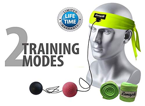 Zomaple Boxing Reflex Ball, Punching Ball, Speed Ball, Fight Ball Hand Eye Coordination Training - Head Ball, Egg Weights Boxing, Spar Bar Boxing Set Includes Non-Sweat Headband & Hand Wraps