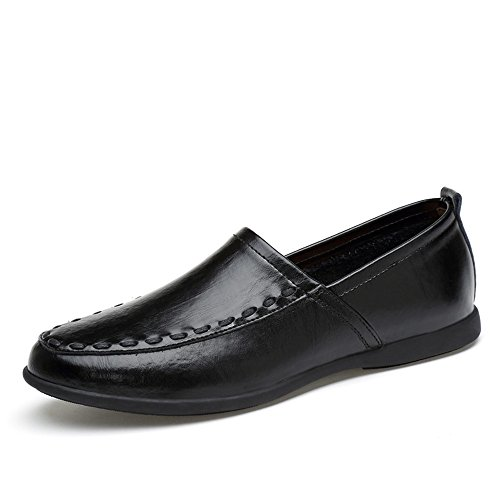 Style de Suede de los Black Loafer Genuino Plantilla on Hombres Breathable Mocasines Slip Cuero HdxqH8O
