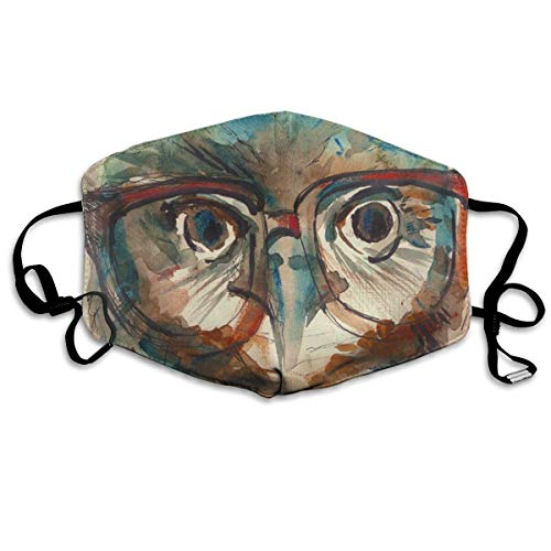 Face Mask Wise Owl With Glasses Watercolor Amazing Cycling Half Face Earloop Ski Mask For Woman