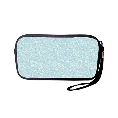 iPrint Neoprene Wristlet Wallet Bag,Coin Pouch,Abstract,Ocean Inspired Hand Drawn Wave Pattern Lines and Swirls Soft Toned Palette,Baby Blue White,for Women and ()