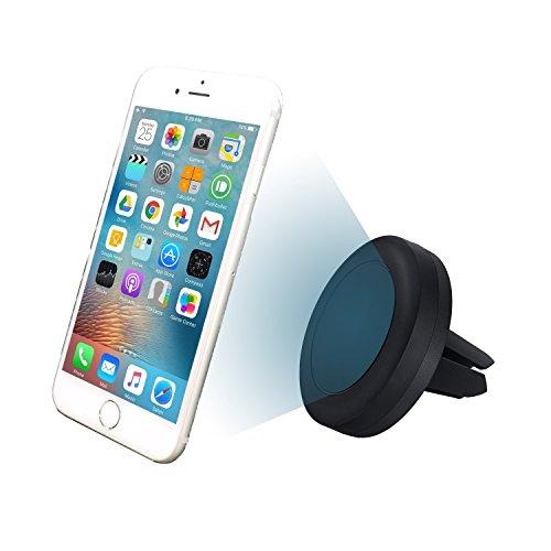 MyGadget© magnetische Auto-Halterung zur Befestigung am Lüftungsschlitz für iPhone 7 Plus/7/6s/6s Plus/6/5/5s/5c Samsung Galaxy S6/S7, Navis (Schwarz)