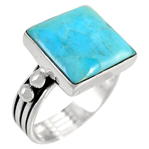 Turquoise Ring in Sterling Silver 925 & Genuine Turquoise Size 6 to 11 (SELECT color) (Turquoise, 10)