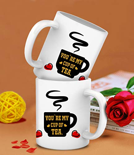 TIED RIBBONS You Are my Cup of Tea printed Set of 2 Coffee Mugs Romantic Anniversary Birthday Gift set for Boyfriend Girlfriend Husband Wife Couples