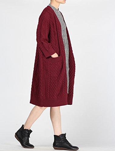 1 Oversize Cardigan Knit Vogstyle Borgogna Stile Maglione Donna Breve Cappotto qv6v8xpw
