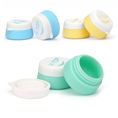 HAL Travel Silicone Cosmetic Containers With Sealed Lids Pack of 6, Soft Silicone - BPA Free, Great for Home and Outdoor (10ml)