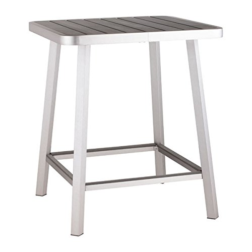 Zuo Modern Megapolis Bar Table, Brushed Aluminum (Cart Bar Canada)