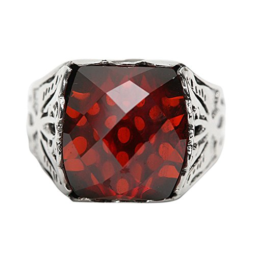 Beydodo Mens Silver Ring, Red Cubic Zirconia Ring Size 12 Men Rings Hip Hop by Beydodo