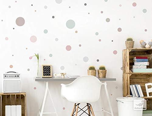dekodino/® Pegatina de pared pastel c/írculos en colores tiernos 50 piezas set