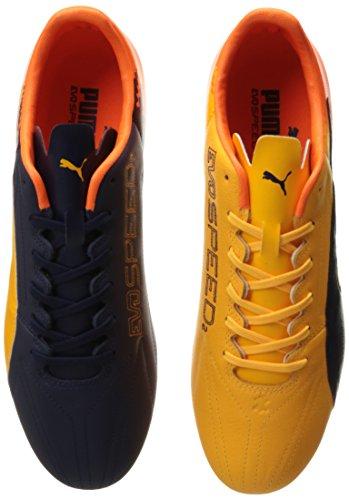 Puma Mens evoSPEED 17.2 Lth FG Soccer Shoe Ultra Yellow-peacoat-orange Clown Fish