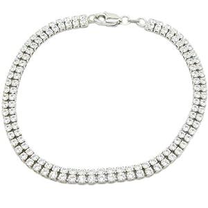 Womens Sterling silver 2 row cz pink bracelet