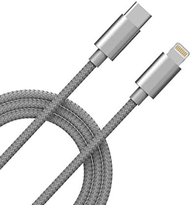 USB-C to Lightning Cable [3FT MFi-Certified] Supports Power Delivery Fast Charging Sync with Type C PD Charger, Compatible for iPhone SE 11 Pro Max XR Xs Max Plus 8, AirPods, iPad(Silver)